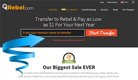 $1 Domain transfers at Rebel.com